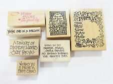 Rubber stamp wood mounted saying art and craft occasional quotes lot of 8