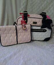 NWT!!BETSEY JOHNSON 'Be Mine'  Baby Diaper Bag Tote CREAM PINK Weekender