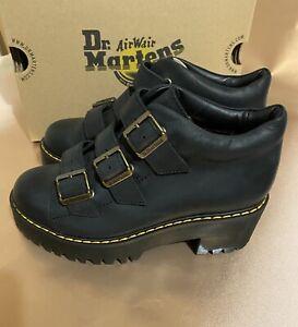 Dr Martens Coppola Black Leather Platform Heel Boots UK 5