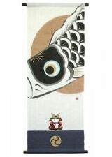 Kyoto Hangin scroll Kakejiku Tapestry Handpaint Koi Carp Kabuto Samurai Japan