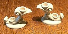 VINTAGE ABINGDON WHITE  MATCHING CANDLE HOLDERS
