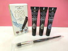 NIB Laura Geller Cool Lids Cream Eyeshadow Trio with Full Size Brush New in Box