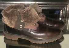 Timberland Shearling Ankle Brown Suede Boots Women's Leather Foldover Size 8M