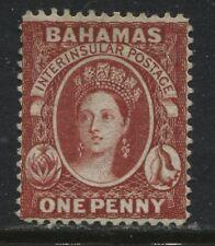 Bahamas QV 1863 1d vermilion perf 14 unused no gum