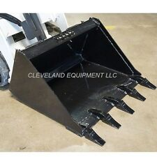 "NEW 44"" MINI LOW PROFILE TOOTH BUCKET Bobcat MT-55 MT-85 Track Skid Loader Teeth"