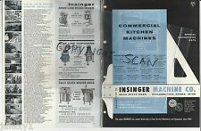 1966 INSINGER Machine Commercial KITCHEN Dishwashers Military Locations Catalog