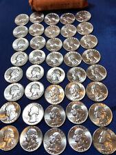 Washington 1964 Original BRILLIANT UNC Quarter Dollar Roll 40 Coins