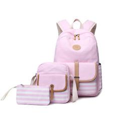 3pcs/set Canvas Women Backpack Bookbag Laptop Bagpack Travel School Bag for Girl