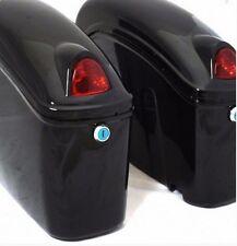 Saddle Bags Black Luggage Trunk With Lights Mount Bracket