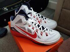 NUOVO con scatola originale Nike Hyperdunk 2014 Basket Scarpe da Ginnastica. UK 10 Bianco/Blu