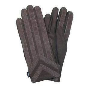 MENS Isotoner ML OR XL Classic Stretch Gloves Knit Lined BROWN NEW