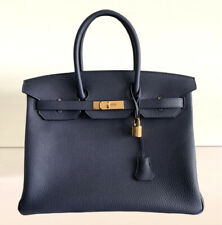 NEW Hermès Birkin 35 Veau Togo Bleu Nuit / Night Blue Gold Hardware Y -2020
