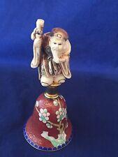Netsuke Cloisonne Bell Jurojin god Of Longevity Vtg Good Fortune Hammond Museum