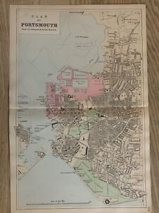 1884 Portsmouth City Plan Antique Hand Coloured Map by Edward Weller