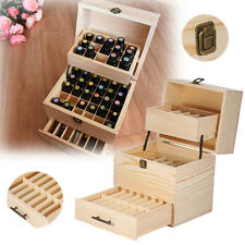 3 Tier Essential Oil Box Case Wood Storage 59 Slots Carry Aromatherapy Container