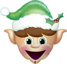 "35"" Qualatex Green Elf Shaped Christmas Jumbo Balloon Helium Santa Decorations"