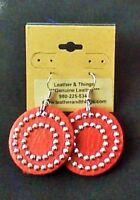 "Genuine Leather Bling Earrings - Red 1 /12"" - 2 1/2"""