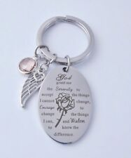 Silver Keyring Serenity Prayer Angel Wing Pink Crystal Heart  Christian Gifts