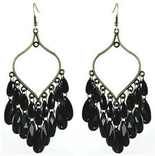 C 1229 Bronze Leaf Black Bead Noble Women Chandelier Dangle Hook Earrings Hot