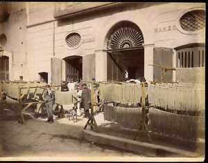 Italy Naples MACARONI FACTORY OF MICHELE MANZO Sommer Tinted Albumen Photo ta213