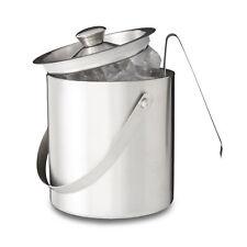 Relaxdays Eisbehälter 2 Liter geschlossen Deckel Eiszange Eiswürfelkühler silber