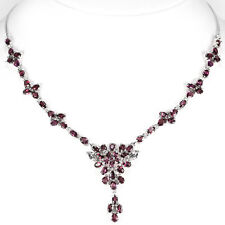 Sterling Silver 925 Genuine Natural Rhodolite Garnet Cluster Necklace 171/2 Inch