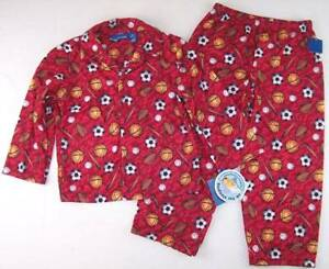 NWT Greendog Boy's Red Sports Football Baseball Flannel Pajamas Pajama Set, 4/5