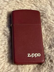 Vintage Zippo Lighter retro Used Untested Red Colour Slim 3cm Wide