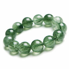 16mm AAA Natural Green Rutilated Quartz Crystal Round Big Beads Bracelet