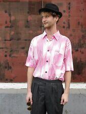 Signum Hemd L Herrenhemd kurzärmlig 90er True VINTAGE 90s men's shirt pink weiß