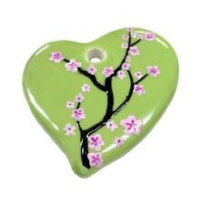 """Green Cherry Blossom Flower Heart Ceramic Pendant 1.70"""" x 1.90"""" Diy making"""