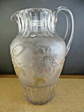 Antique Frosted Crystal Flowers & Pleat Large Victorian Glass Serving Pitcher