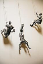 3x Large Antique-silver Rock Climbing Men Set of 3 figurines Wall Art Statues