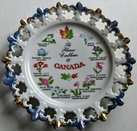 Giftcraft FLOWER EMBLEMS OF CANADA blue and gold Souvenir Plate made in Japan