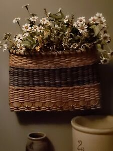 Beautiful Hand Woven Blue 16 x 12 x 4 Wall Basket