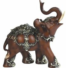 Thai Trunk Up Lucky Elephant Wood Look Collectible Statue Figurine, New, Free Sh