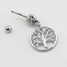 14G Tree of Life Stainless Steel Dangle Belly Button Navel Ring Body Piercing