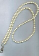 wire beaded lanyard id badge eyeglass holder necklace REAL PEARL sophisticated!
