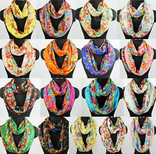 Women Fashion Shawl Colorful Flowers Floral Print Ladies Soft Infinity Scarf New