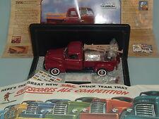 1950 GMC PICKUP TRUCK DEEP RED FRANKLIN MINT 1:24 & DISPLAY CASE