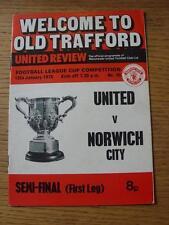 15/01/1975 Football League Cup Semi-Final: Manchester United v Norwich City [Div