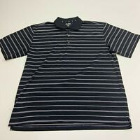 Jack Nicklaus Performance Polo Shirt Mens XXL Black Stripe Short Sleeve Golf