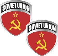 "2 - 3"" Soviet Union USSR Flag Shield Decal SET Badge"