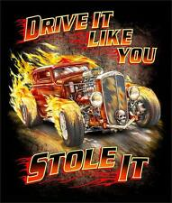 DRIVE IT LIKE YOU STOLE IT VINTAGE CARS BLACK TEE SHIRT SIZE XL adult T323 FLAME