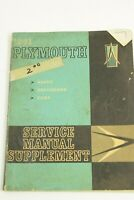 1961 Plymouth Service Manual Supplement Savoy, Belvedere, Fury