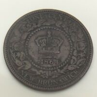 1864 S6 Short New Brunswick Canada 1 One Cent Large Penny Circulated Coin F578