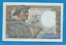 Gertbrolen 10 Francs ( MINEUR )  du 26-4-1945  E.101 Billet N° 250490092