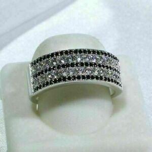 White & Black Round Cut Diamond Eternity Band Engagement Wedding Ring 925 Silver