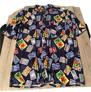 Jos.J. Oliver Men's Size L Tropical Hawaiian Floral Button Aloha Camp Shirt