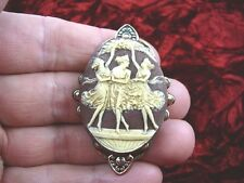 CL5-7) THREE MUSES Graces Faith Hope Charity goddess brown CAMEO pendant JEWELRY